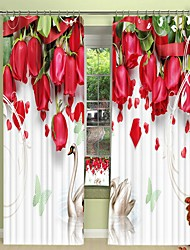 cheap -Swan Digital Printing Under Red Rose 3D Curtain Shading Curtain High Precision Black Silk Fabric High Quality Curtain