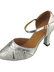 cheap -Women's Modern Shoes / Ballroom Shoes Synthetics Ankle Strap Heel Paillette Cuban Heel Customizable Dance Shoes Silver