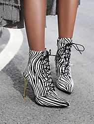 cheap -Women's Boots Print Shoes Stiletto Heel Pointed Toe Animal Print PU Booties / Ankle Boots British Walking Shoes Fall & Winter White / Gold / Yellow