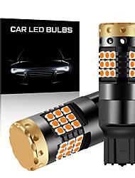 Недорогие -2 шт. T20 w21w 7440 указатель поворота без гипер вспышки t20 7440 лампочка указателя поворота янтарный 12 В 3030 36smd canbus безошибочные светодиодные