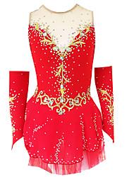 cheap -21Grams Figure Skating Dress Women's Girls' Ice Skating Dress Violet White / White Yellow & Yellow Spandex Stretch Yarn Micro-elastic Training Skating Wear Classic Crystal / Rhinestone Ice Skating