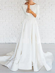 cheap -A-Line Bateau Neck Sweep / Brush Train Satin 3/4 Length Sleeve Made-To-Measure Wedding Dresses with 2020