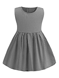 cheap -Kids Girls' Sweet Cute Black & Gray Houndstooth Ruched Sleeveless Above Knee Dress Light gray