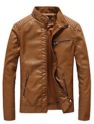 cheap -Men's Daily Regular Leather Jacket, Solid Colored Stand Long Sleeve PU Black / Army Green / Yellow