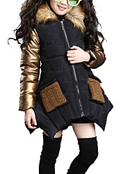 cheap -Kids Girls' Street chic Color Block Down & Cotton Padded Black