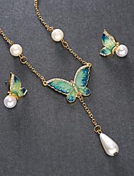 cheap -Women's Stud Earrings Necklace Butterfly Classic Fashion Imitation Pearl Earrings Jewelry Orange / Green For Daily 1 set