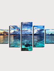 cheap -Print Rolled Canvas Prints Stretched Canvas Prints - Landscape Nautical Modern Five Panels Art Prints