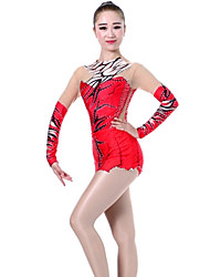 cheap -Rhythmic Gymnastics Leotards Artistic Gymnastics Leotards Women's Girls' Leotard Red Spandex High Elasticity Handmade Print Leopard Long Sleeve Competition Ballet Dance Ice Skating Rhythmic Gymnastics