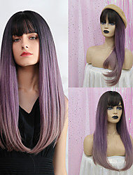 cheap -Synthetic Wig Bangs Straight Natural Straight Side Part Neat Bang With Bangs Wig Long Purple Synthetic Hair 24 inch Women's Cosplay Women Synthetic Dark Gray HAIR CUBE / Ombre Hair