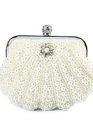 cheap -Women's Bags Polyester Satin Evening Bag Crystals Beading Solid Color Wedding Bags Wedding Party Event / Party White Black Beige