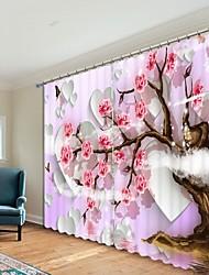 cheap -Love Background Plum Blossom Digital Printing 3D Curtain Shading Curtain High Precision Black Silk Fabric High Quality Curtain