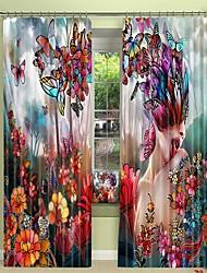 abordables -Papillon fille impression numérique 3d rideau rideau d'ombrage haute précision noir tissu de soie rideau de haute qualité