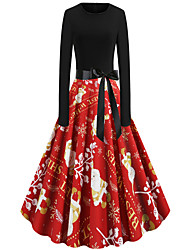 cheap -Women's Red Dress Street chic Christmas Party A Line Snowflake Print S M