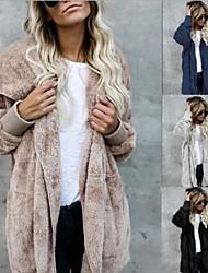 cheap -Women's Daily Winter Regular Coat, Solid Colored Shirt Collar Long Sleeve Faux Fur Red / Khaki / Brown