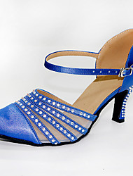 cheap -Women's Modern Shoes / Ballroom Shoes Satin Cross Strap Heel Crystal / Rhinestone Cuban Heel Customizable Dance Shoes Blue / Performance / Practice