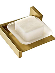 cheap -Bathroom Accessories Soap Dish Holder Brass Bracket Glass Plate Wall Mounted Brushed Gold Modern Shower Room Washroom Hardware Pendant Soap Basket