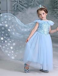 cheap -Princess Elsa Dress Flower Girl Dress Girls' Movie Cosplay A-Line Slip Vacation Dress Halloween Blue Dress Halloween