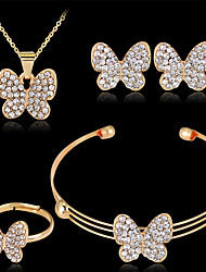 cheap -Women's Stud Earrings Pendant Necklace Bracelet 3D Butterfly Luxury Unique Design Fashion Gold Plated Earrings Jewelry Gold For Wedding Party Holiday 1 set / Bridal Jewelry Sets / Open Ring