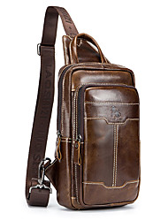 cheap -Men's Bags Cowhide Sling Shoulder Bag Zipper for Daily / Office & Career Brown / Coffee / Fall & Winter