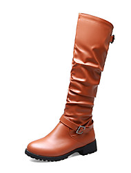 cheap -Women's Boots Knee High Boots Low Heel Round Toe PU Knee High Boots Casual / British Fall & Winter Black / Brown / Gray