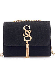 cheap -Women's Chain / Tassel Polyester Crossbody Bag Solid Color Black / Silver / Red