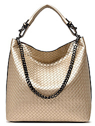 cheap -Women's Straw / PU Top Handle Bag Solid Color Black / Gold / Blue
