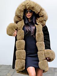 abordables -Femme Soirée / Quotidien Automne hiver Longue Manteau, camouflage Capuche Manches Longues Polyester Noir