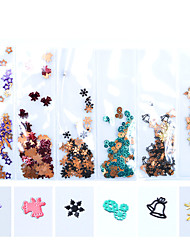 cheap -600pcs/pack DIY Alloy Festival Nail Decorations Copper Snowflake Metal Christmas Tree Manicure Tools
