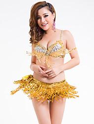 cheap -Belly Dance Outfits Women's Training / Performance Elastane Glitter / Beading / Tassel Sleeveless Natural Bra