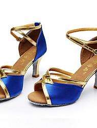 cheap -Women's Dance Shoes PU Latin Shoes Sneaker Slim High Heel Black / Blue / Khaki