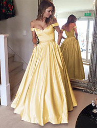 cheap -Ball Gown Elegant Yellow Prom Formal Evening Dress Off Shoulder Short Sleeve Floor Length Satin with Pleats Beading 2020