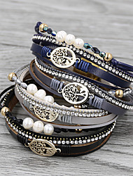 cheap -Women's Charm Bracelet Bracelet Bangles Wrap Bracelet Layered Tree of Life life Tree Baroque European Fashion Boho Initial PU Leather Bracelet Jewelry Black / Dark Gray / Dark Blue For Gift Daily