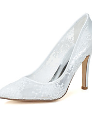 cheap -Women's Wedding Shoes Stiletto Heel Pointed Toe Lace Minimalism Fall / Spring & Summer Black / White / Ivory / Party & Evening