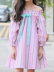 cheap -Kids Girls' Cute Street chic Striped Bow Half Sleeve Knee-length Dress Blushing Pink