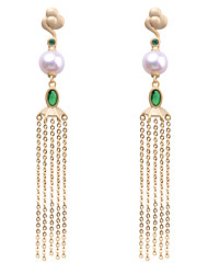 cheap -Women's White Freshwater Pearl Drop Earrings Vintage Style Vertical / Gold bar Vintage Silver Earrings Jewelry White For Daily 1 Pair