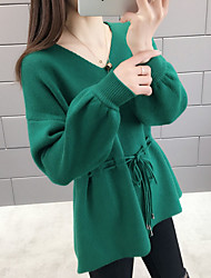 Women's Solid Colored Long Sleeve Pullover Sweater Jumper, V