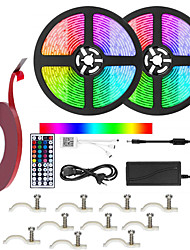 cheap -KWB 2x5M Light Sets 300 LEDs SMD5050 10mm 1 44Keys Remote Controller / 1Set Mounting Bracket RGB Cuttable / Self-adhesive / TV Background 100-240 V 1 set