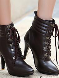 cheap -Women's Boots Stiletto Heel Round Toe PU Mid-Calf Boots Winter Black / Brown / White