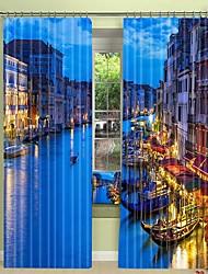 abordables -Venise nuit vue ville impression numérique 3d rideau rideau de lumière haute précision noir tissu de soie rideau de haute qualité