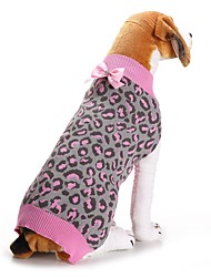 cheap -Dog Cat Sweater Leopard Bowknot Simple Style Winter Dog Clothes Puppy Clothes Dog Outfits Pink Costume for Girl and Boy Dog Polyester XXS XS S M L XL