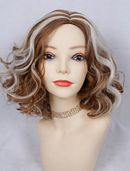 cheap -Synthetic Wig Curly with Baby Hair Wig Blonde Medium Length Light golden Synthetic Hair 36-40 inch Women's New Arrival Blonde