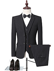 cheap -Black / Gray Striped Standard Fit Polyester Suit - Notch Single Breasted Two-buttons / Suits