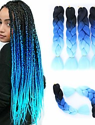 cheap -Extension Twist Braids Afro Kinky Braids Straight Box Braids Natural Color Synthetic Hair 24 inch Braiding Hair 3 Pieces Heat Resistant