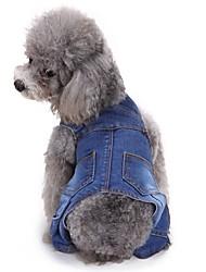 cheap -Dogs Jumpsuit Pants Dog Clothes Blue Costume Corgi Beagle Shiba Inu Denim Solid Colored One Piece Casual / Sporty XS S M L XL XXL