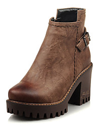 cheap -Women's Boots Comfort Shoes Chunky Heel Round Toe PU Booties / Ankle Boots Vintage / Casual Winter Black / Brown / Red