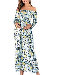 cheap -Women's Maxi Maternity Blushing Pink Blue Dress Elegant Street chic Swing Floral S M