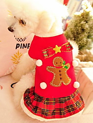 cheap -Dog Cat Pets Costume Bandanas & Hats Dog Scarf Winter Dog Clothes Red Costume Polyster Plaid / Check Christmas Cosplay Christmas XS S M L XL