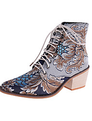 cheap -Women's Boots Print Shoes Chunky Heel Pointed Toe Animal Print Satin Booties / Ankle Boots Casual Walking Shoes Fall & Winter Dark Red / Blue