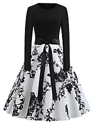 Недорогие -Жен. С летящей юбкой Платье - Длинный рукав Геометрический принт Классический На каждый день Белый S M L XL XXL