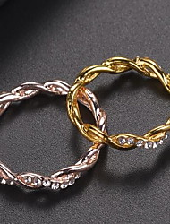 cheap -Ring Cubic Zirconia Classic Rose Gold Gold Silver Rhinestone Alloy Wave Stylish Simple Elegant 1pc 6 7 8 9 10 / Women's